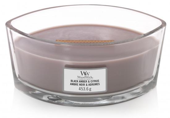 Aromatická svíčka loď, WoodWick Black Amber & Citrus, hoření až 40 hod-907