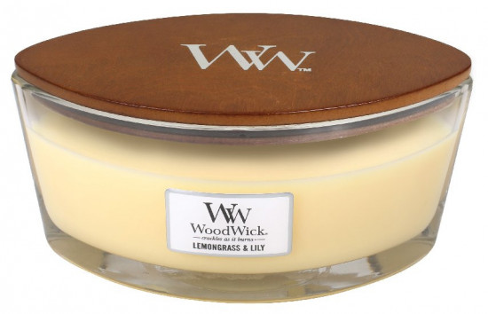 Aromatická svíčka loď, WoodWick Lemongrass & Lily, hoření až 40 hod-1157