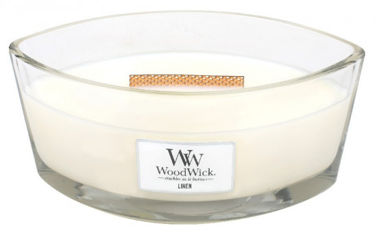 Aromatická svíčka loď, WoodWick Linen, hoření až 40 hod-61