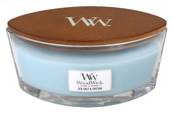 Aromatická svíčka loď, WoodWick Sea Salt & Cotton, hoření až 40 hod-1058