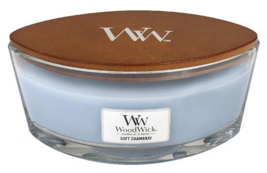 Aromatická svíčka loď, WoodWick Soft Chambray, hoření až 40 hod-1027