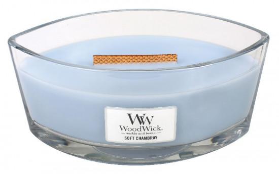 Aromatická svíčka loď, WoodWick Soft Chambray, hoření až 40 hod-429