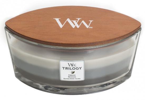 Aromatická svíčka loď, WoodWick Trilogy Warm Woods, hoření až 40 hod-1220