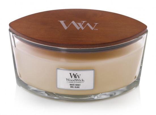 Aromatická svíčka loď, WoodWick White Honey, hoření až 40 hod