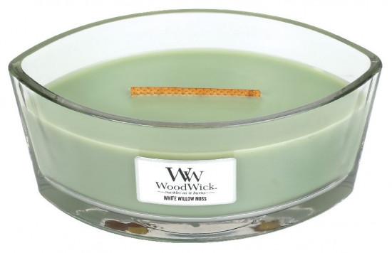 Aromatická svíčka loď, WoodWick White Willow Moss, hoření až 40 hod