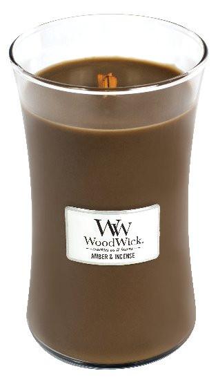 Aromatická svíčka váza, WoodWick Amber & Incense, hoření až 120 hod