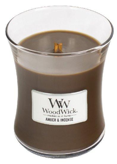 Aromatická svíčka váza, WoodWick Amber & Incense, hoření až 65 hod