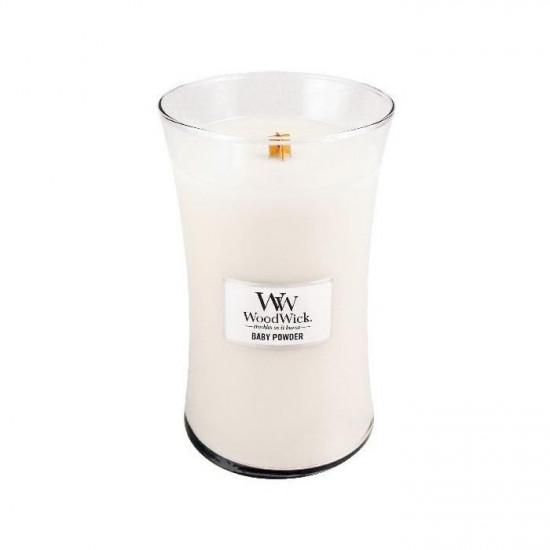 Aromatická svíčka váza, WoodWick Baby Powder, hoření až 120 hod-3618