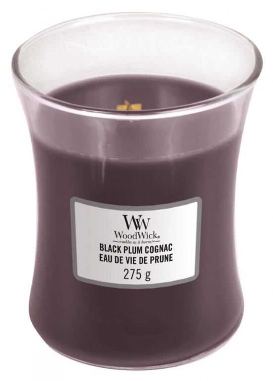 Aromatická svíčka váza, WoodWick Black Plum Cognac, hoření až 65 hod-1038