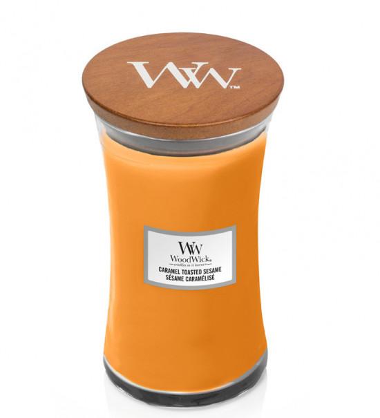 Aromatická svíčka váza, WoodWick Caramel Toasted Sesame, hoření až 120 hod-4757