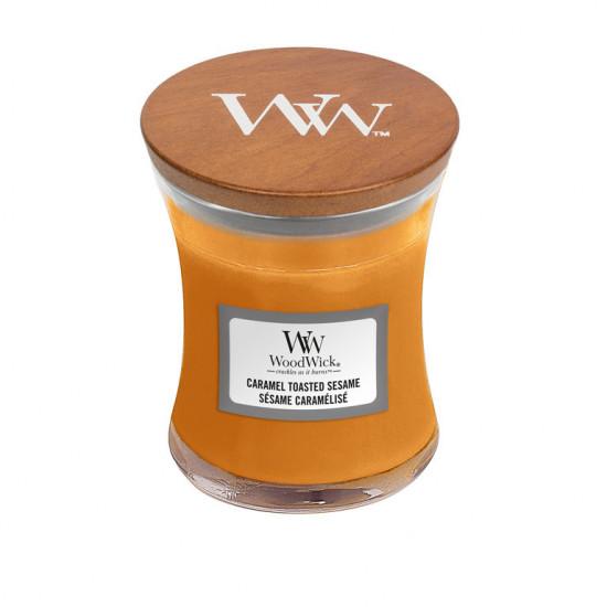 Aromatická svíčka váza, WoodWick Caramel Toasted Sesame, hoření až 30 hod-4758