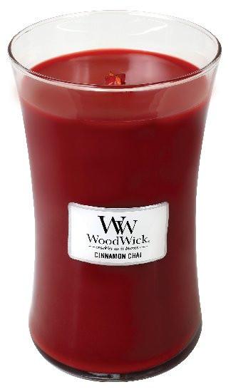 Aromatická svíčka váza, WoodWick Cinnamon Chai, hoření až 120 hod-417