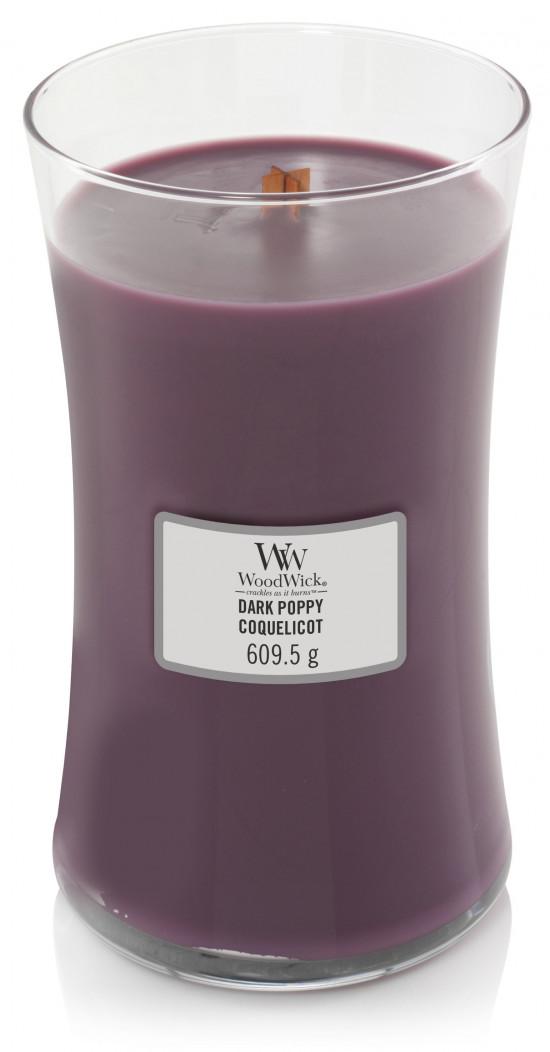Aromatická svíčka váza, WoodWick Dark Poppy, hoření až 120 hod