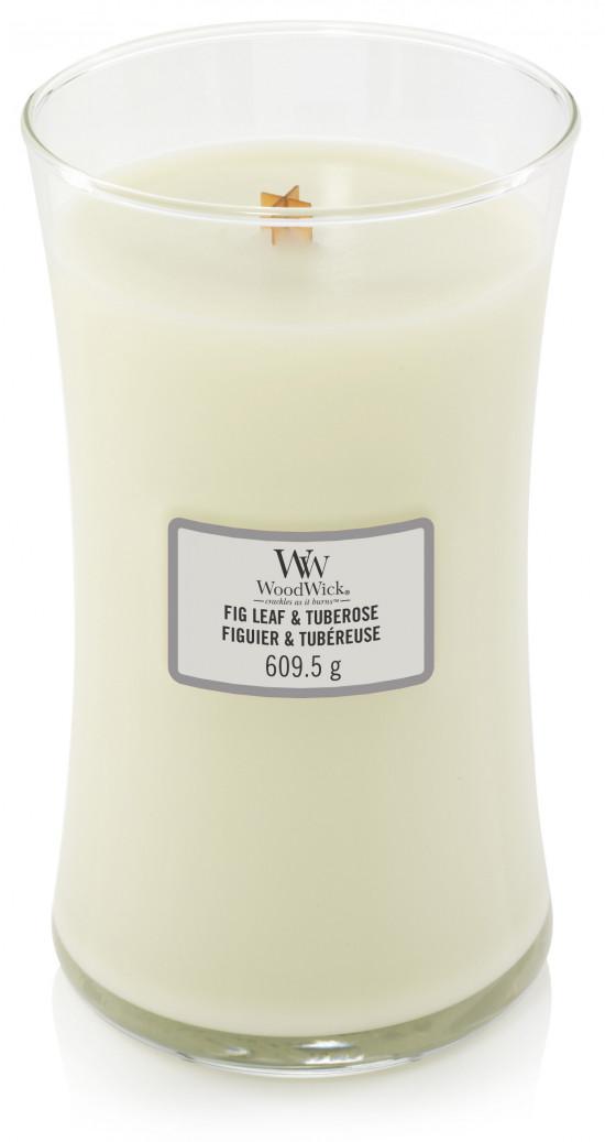 Aromatická svíčka váza, WoodWick Fig Leaf & Tuberose, hoření až 120 hod-496