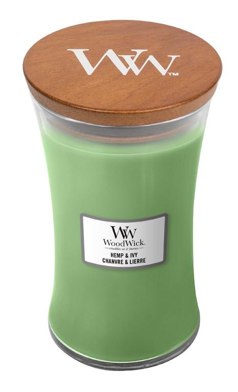 Aromatická svíčka váza, WoodWick Hemp & Ivy, hoření až 120 hod-1236