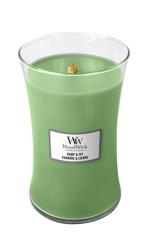 Aromatická svíčka váza, WoodWick Hemp & Ivy, hoření až 120 hod-450
