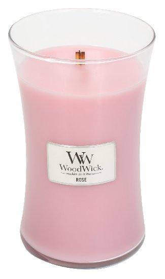 Aromatická svíčka váza, WoodWick Rose, hoření až 120 hod-800