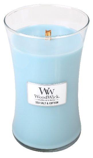 Aromatická svíčka váza, WoodWick Sea Salt & Cotton, hoření až 120 hod