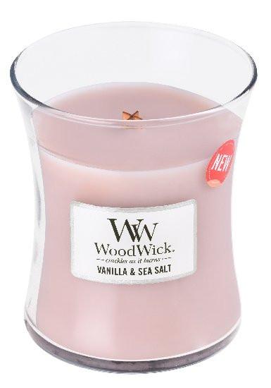 Aromatická svíčka váza, WoodWick Sea Salt & Vanilla, hoření až 65 hod