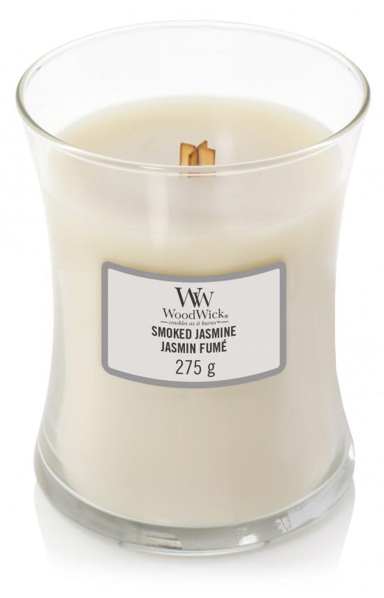 Aromatická svíčka váza, WoodWick Smoked Jasmine, hoření až 65 hod