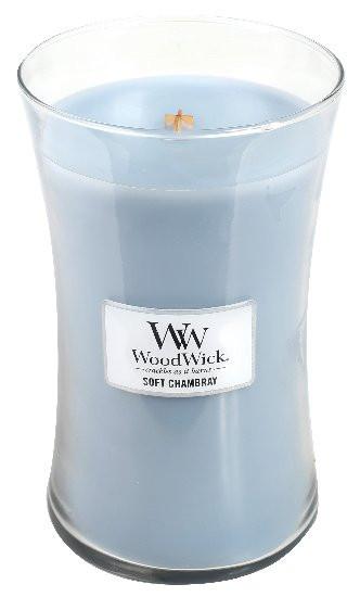 Aromatická svíčka váza, WoodWick Soft Chambray, hoření až 120 hod