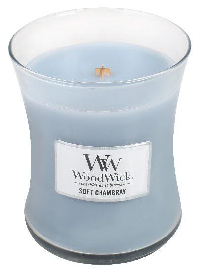 Aromatická svíčka váza, WoodWick Soft Chambray, hoření až 65 hod-711