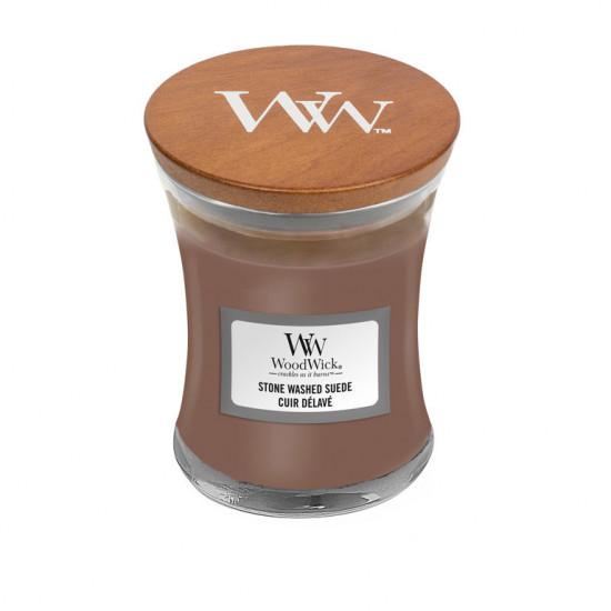 Aromatická svíčka váza, WoodWick Stone Washed Suede, hoření až 30 hod-4754