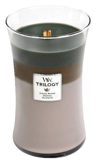 Aromatická svíčka váza, WoodWick Trilogy Cozy Cabin, hoření až 120 hod-1086