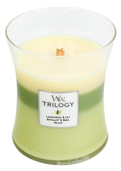 Aromatická svíčka váza, WoodWick Trilogy Garden Oasis, hoření až 65 hod
