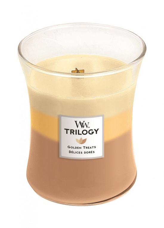 Aromatická svíčka váza, WoodWick Trilogy Golden Treats, hoření až 65 hod-683