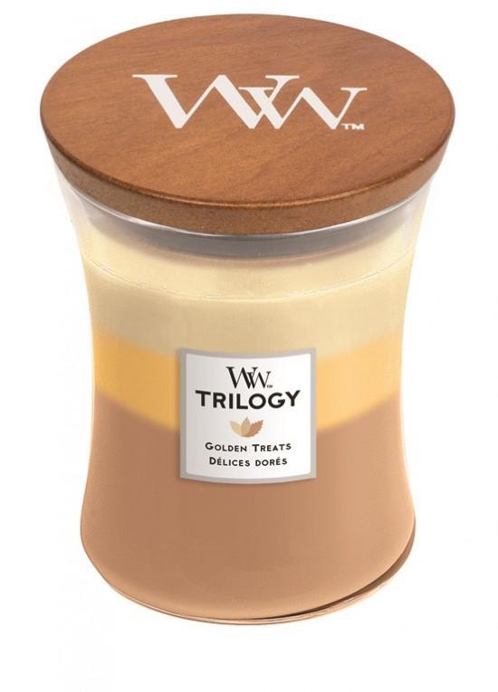 Aromatická svíčka váza, WoodWick Trilogy Golden Treats, hoření až 65 hod-861