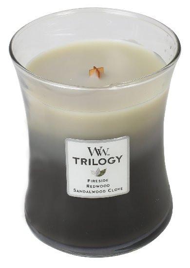 Aromatická svíčka váza, WoodWick Trilogy Warm Woods, hoření až 65 hod