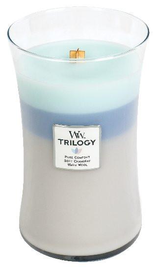 Aromatická svíčka váza, WoodWick Trilogy Woven Comforts, hoření až 120 hod