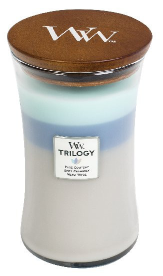 Aromatická svíčka váza, WoodWick Trilogy Woven Comforts, hoření až 120 hod-939