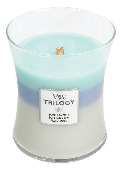 Aromatická svíčka váza, WoodWick Trilogy Woven Comforts, hoření až 65 hod