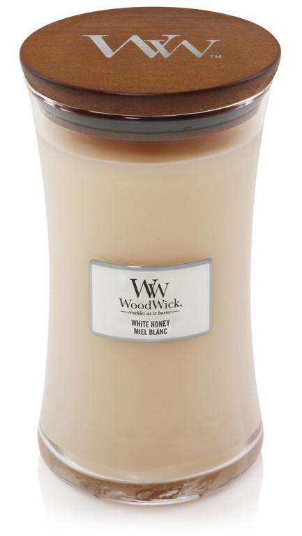 Aromatická svíčka váza, WoodWick White Honey, hoření až 120 hod