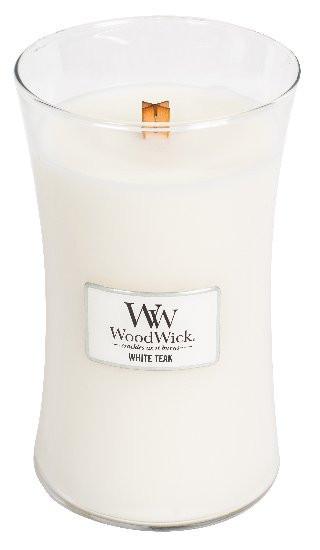 Aromatická svíčka váza, WoodWick White Teak, hoření až 120 hod