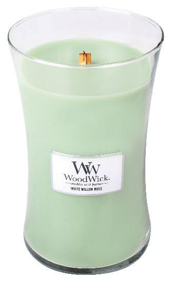 Aromatická svíčka váza, WoodWick White Willow Moss, hoření až 120 hod