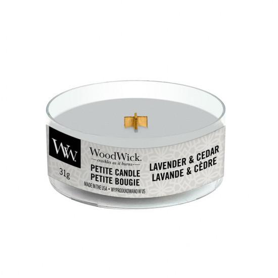 Aromatická svíčka, WoodWick Petite Lavender & Cedar, hoření až 8 hod-4747