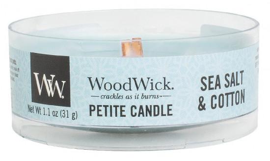 Aromatická svíčka, WoodWick Petite Sea Salt & Cotton, hoření až 8 hod-1202