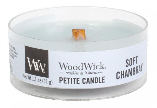 Aromatická svíčka, WoodWick Petite Soft Chambray, hoření až 8 hod-1227