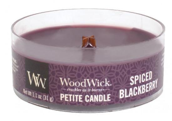 Aromatická svíčka, WoodWick Petite Spiced Blackberry, hoření až 8 hod