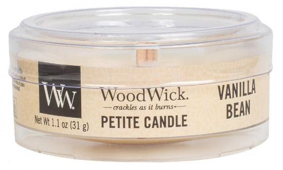 Aromatická svíčka, WoodWick Petite Vanilla Bean, hoření až 8 hod-925