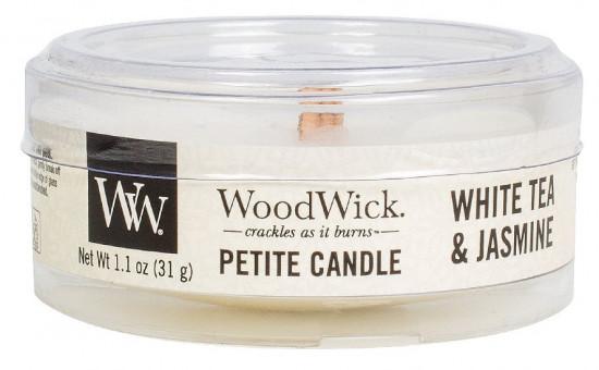 Aromatická svíčka, WoodWick Petite White Tea & Jasmine, hoření až 8 hod