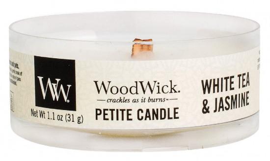 Aromatická svíčka, WoodWick Petite White Tea & Jasmine, hoření až 8 hod-634