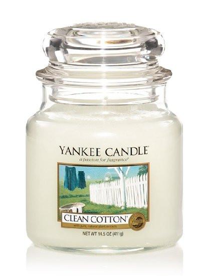 Aromatická svíčka, Yankee Candle Clean Cotton, hoření až 75 hod