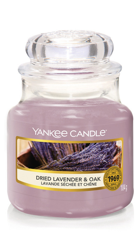 Aromatická svíčka, Yankee Candle Dried Lavender & Oak, hoření až 30 hod