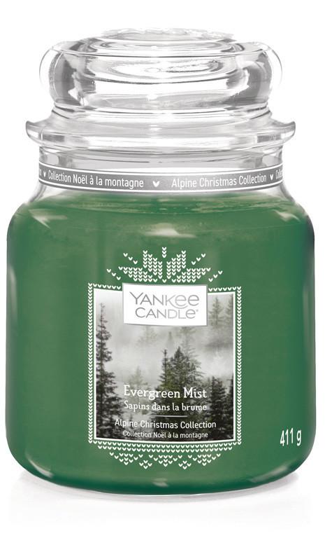Aromatická svíčka, Yankee Candle Evergreen Mist, hoření až 75 hod