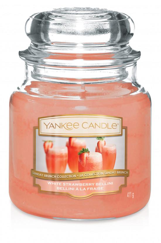 Aromatická svíčka, Yankee Candle White Strawberry Bellini, hoření až 75 hod-1074