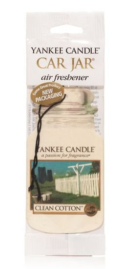 Aromatická visačka do auta, Yankee Candle Clean Cotton, papírová, provonění až 4 týdny